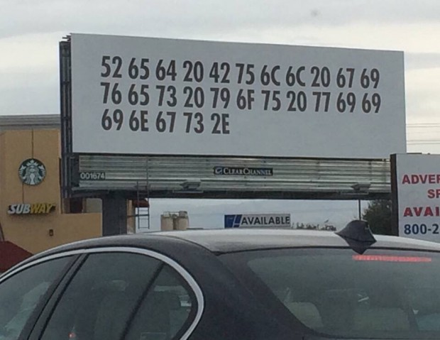 Red bull advertising in hexadecimal billboard